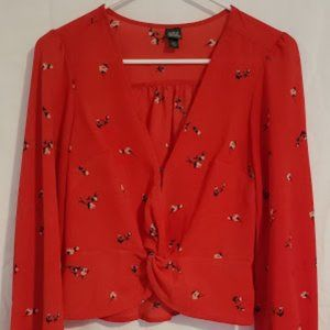 Wild Fable Red Floral Long Sleeve Blouse